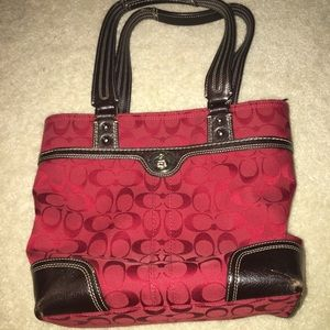Red and dark brown coach bag